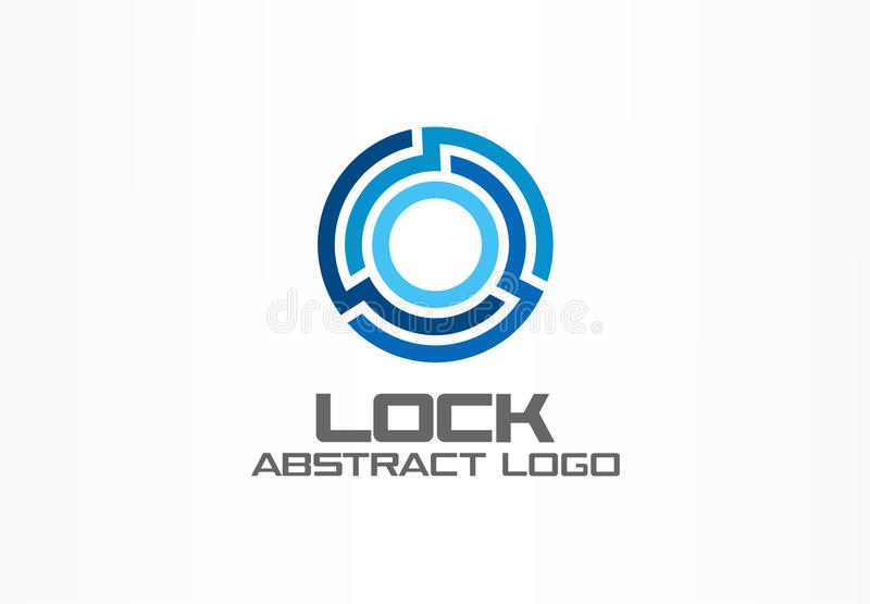 Abstract logo for business company. Corporate identity design element. Connect, integrate, circle lock, globe protect royalty free illustration