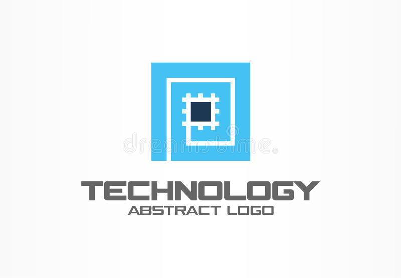 Abstract logo for business company. Corporate identity design element. CPU, processor, Chip, motherboard logotype idea royalty free illustration