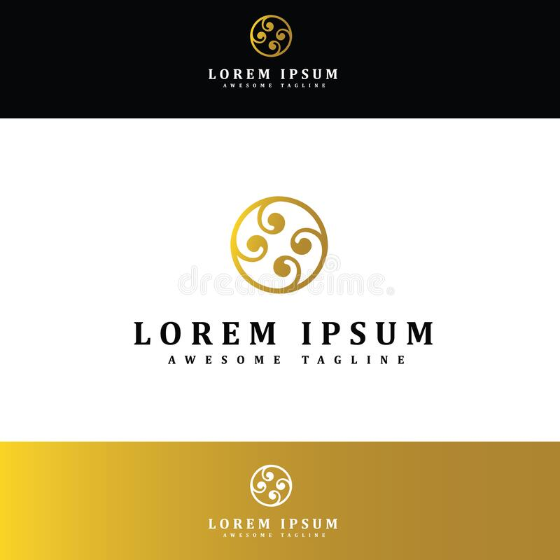 Abstract logo for business company. Corporate identity design element. Eco, nature, whirlpool, spa, aqua swirl Logotype idea. stock illustration