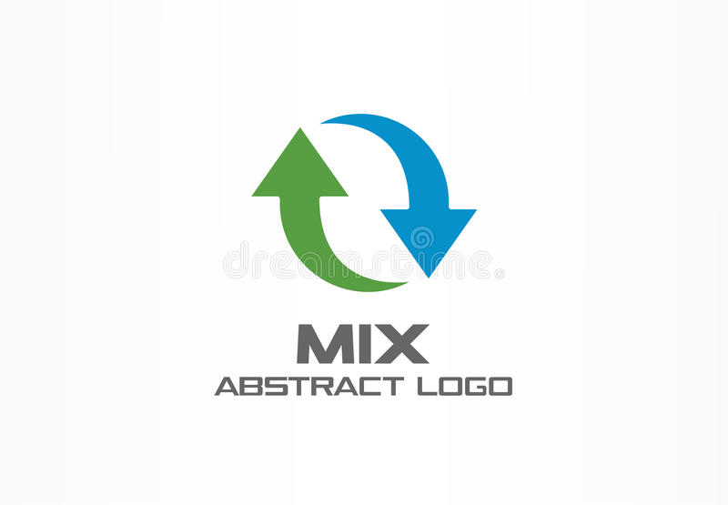 Abstract logo for business company. Corporate identity design element. Exchange currencies, synchronization, replacement stock illustration