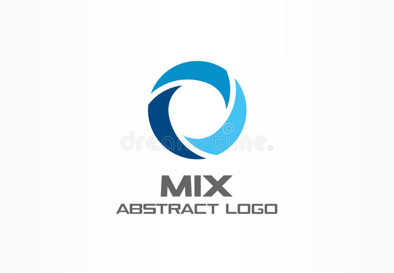 Abstract logo for business company. Corporate identity design element. Globe, teamwork, healthcare, aqua swirl Logotype. Idea. Water blue, circle three segment royalty free illustration