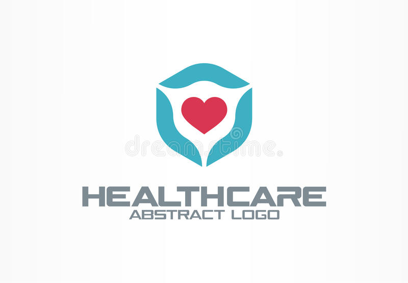 Abstract logo for business company. Corporate identity design element. Healthcare, medical service, clinic logotype idea. Cardio shield, heart protection vector illustration