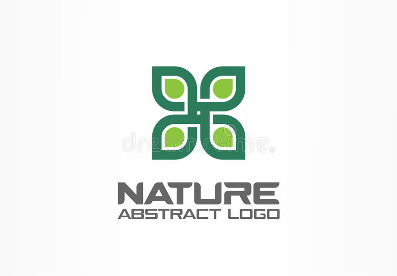 Abstract logo for business company. Corporate identity design element. Healthcare, spa, nature, environment, recycle. Logotype idea. Green flower, leaf growth stock illustration
