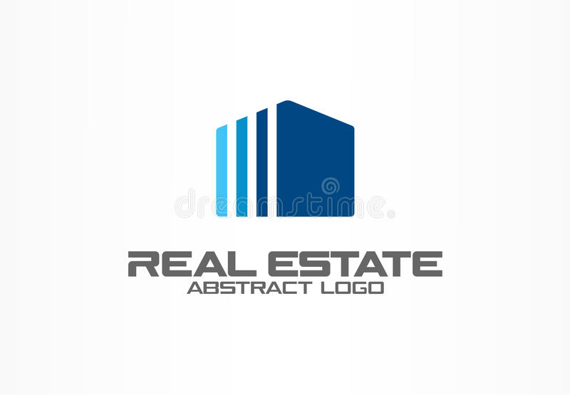 Abstract logo for business company. Corporate identity design element. Real estate service, construction, agent logotype. Idea. Growth house, building, simple royalty free illustration