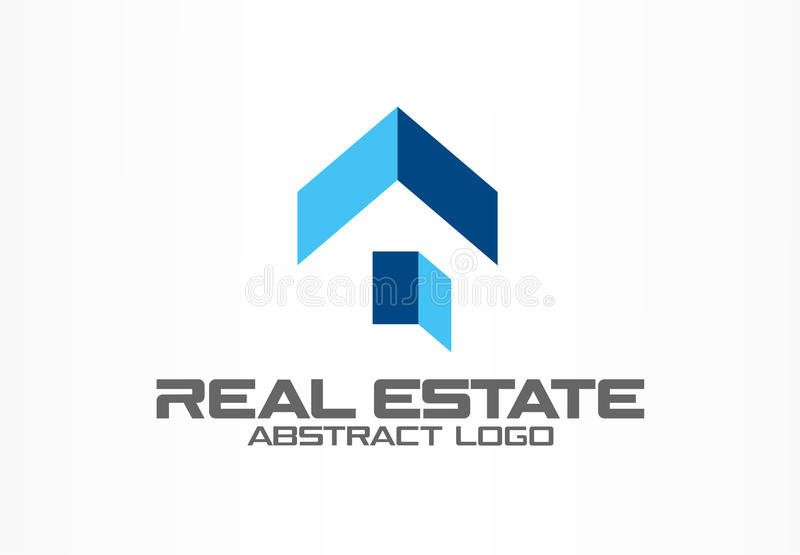 Abstract logo for business company. Corporate identity design element. Real estate service, construction, agent logotype royalty free illustration