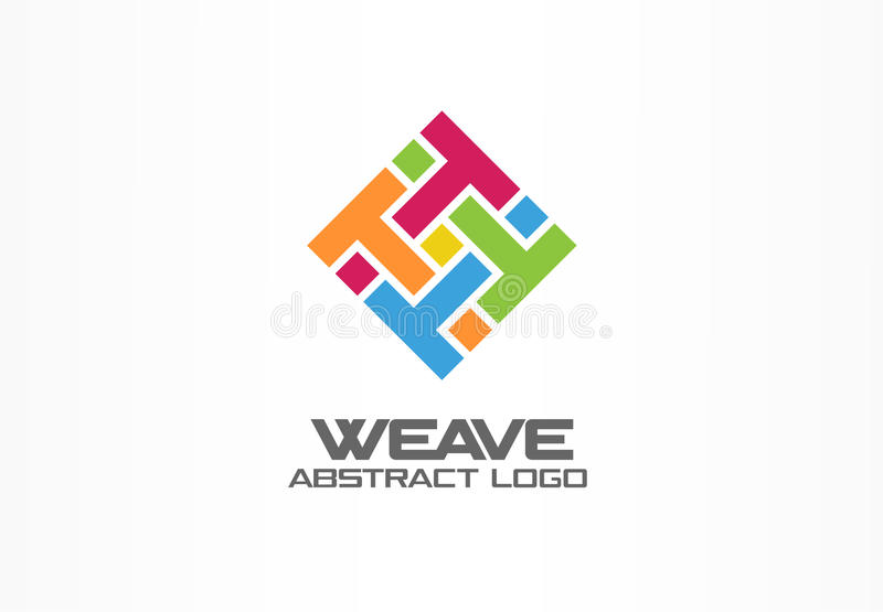 Abstract logo for business company. Corporate identity design element. Weave, letter t, print logotype idea. Square. Group, integrate, technology mix concept vector illustration