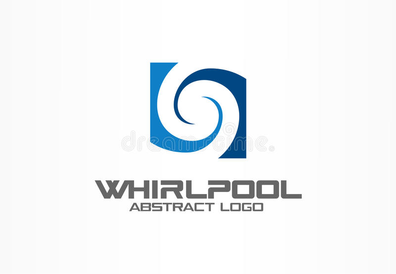 Abstract logo for business company. Eco, nature, whirlpool, spa, aqua swirl Logotype idea. Water spiral, blue circle vector illustration
