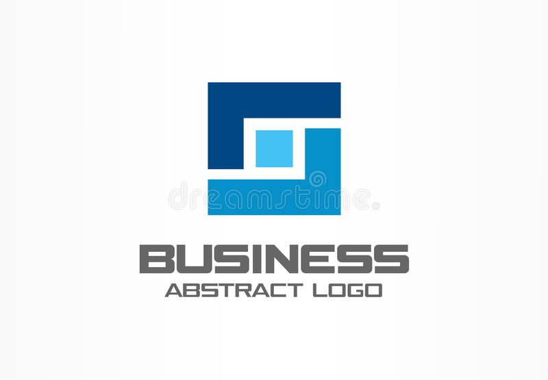 Abstract logo for business company. Industry, finance, bank logotype idea. Square group, network integrate, technology royalty free illustration