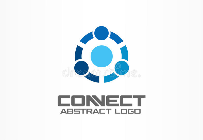 Abstract logo for business company. Technology, Social Media Logotype idea. People connect, Circle, segment, section stock illustration