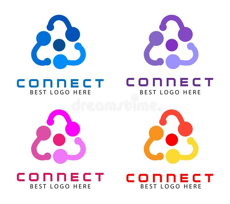 Abstract logo for business company. Technology, Social Media Logotype idea. People connect, Circle, segment, section logo vector illustration