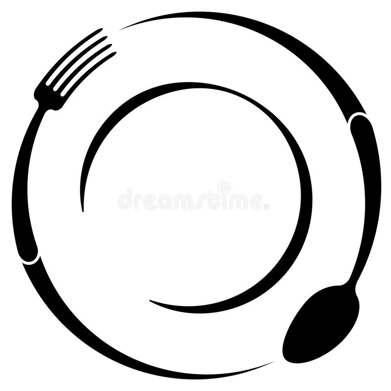 Abstract Logo Cafe Restaurant Spoon Fork Plate Simple Outline Lg Vector