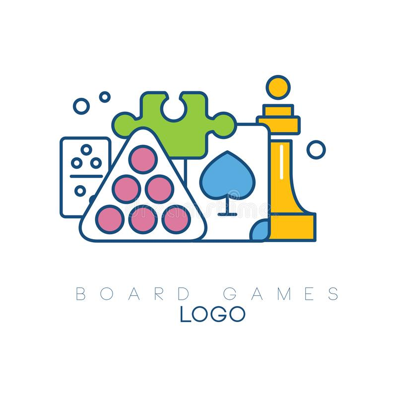 Abstract logo design with board games. Modern linear emblem with colorful fill. Billiard balls, chess piece, puzzle vector illustration