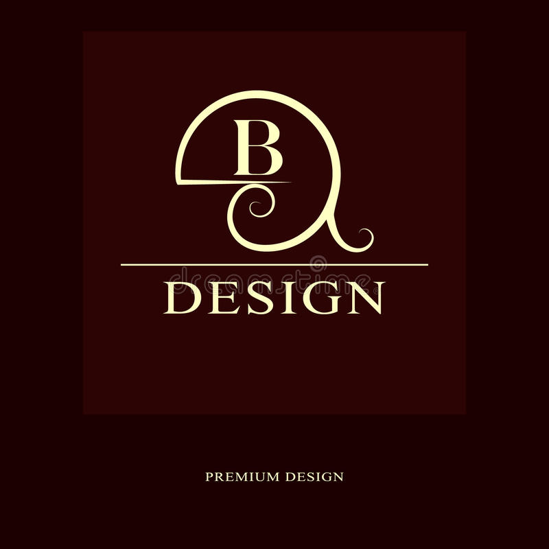 Abstract logo design. Modern luxury monogram. Minimum elements. Letter emblem B. Mark of distinction. Universal round template. Fa. Shion label for Royalty stock illustration