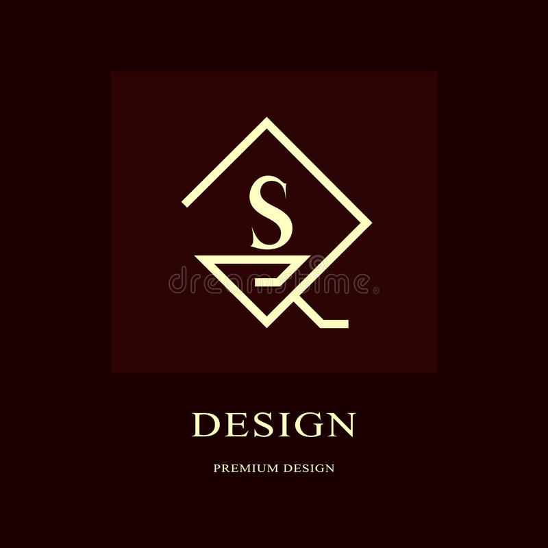Abstract logo design. Modern luxury monogram. Minimum elements. Letter emblem S. Mark of distinction. Universal rhombus template. Fashion label for Royalty royalty free illustration