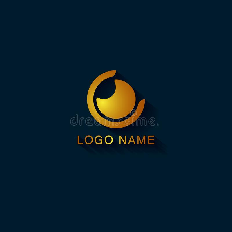 Abstract logo design with the shape concept of eye shaped camera lens stock illustration