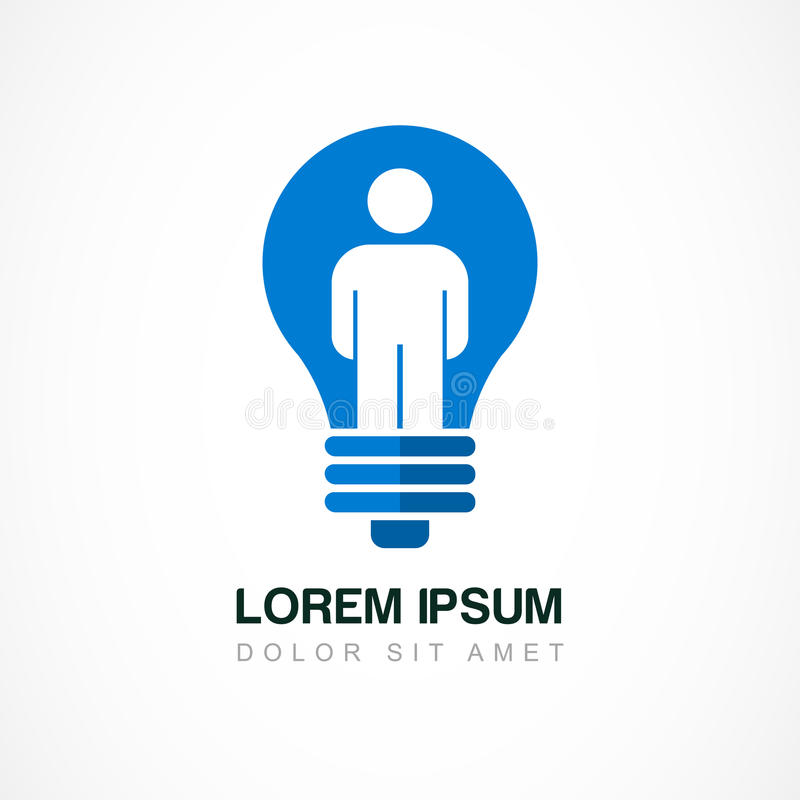 Abstract logo design template. Light bulb with man, business, so stock illustration