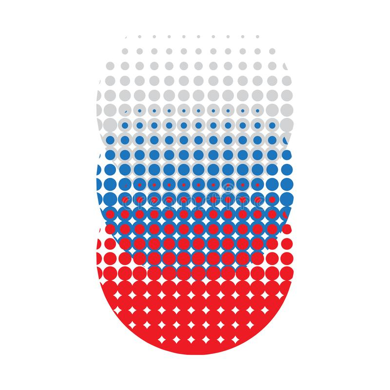 Abstract logo in the form of circles of dots. blue, white, red- vector logo vector illustration