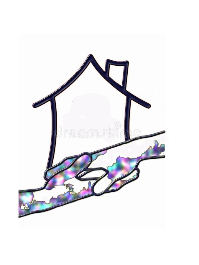 Abstract logo house and hands royalty free illustration