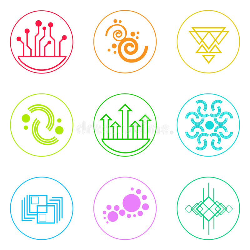 Abstract Logo Icons Set Thin Line Simple Colorful royalty free illustration