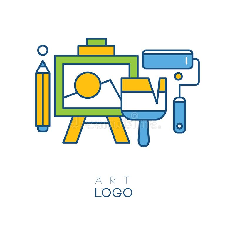 Abstract logo in line style with easel for drawing, pencil, brush and roller. Concept of hobby. Original graphic design royalty free illustration
