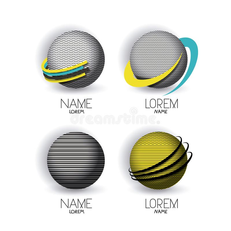 Abstract logo modern globes icon set with color decorative lines vector illustration
