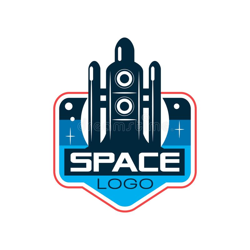 Abstract logo of rocket or shuttle launch. Space exploration and adventure. Emblem in outline style. Flat vector design royalty free illustration