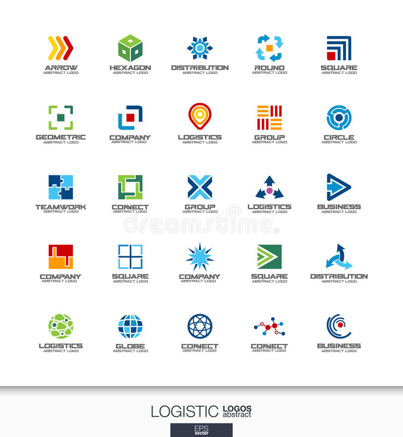 Abstract logo set for business company. Export, transport, delivery and distribution concepts. Logistic, shipping royalty free illustration
