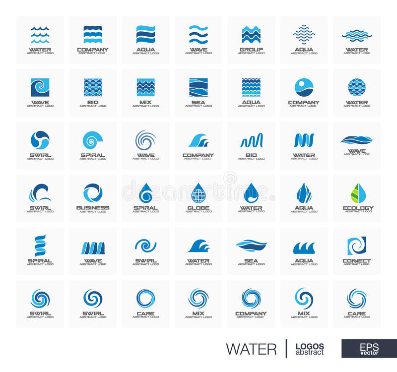 Free Abstract Logo Set For Business Company. Star, Water Wave, Drops Connect Concept. Circle, Square, Spiral, Swirl And Royalty Free Stock Images - 75141589