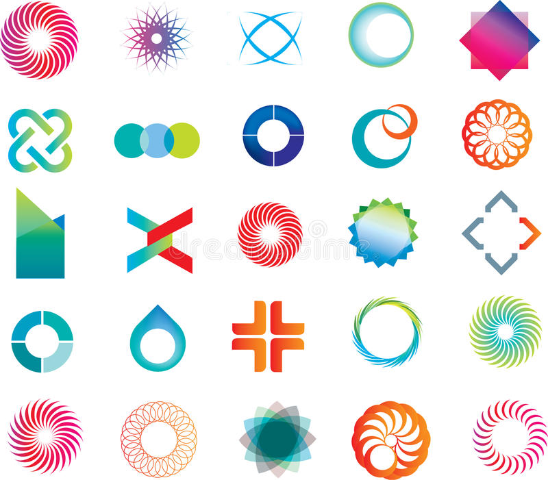 Abstract logo shapes stock illustration