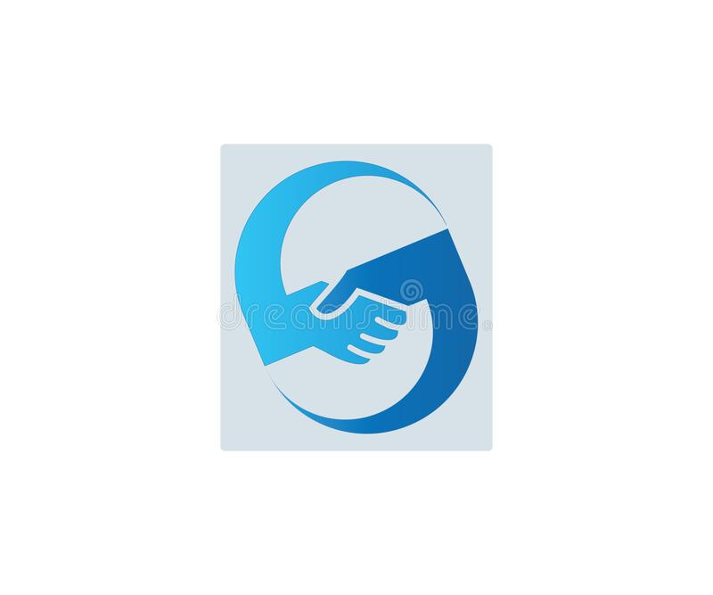Abstract logo of two hands shaking each other in blue color royalty free illustration