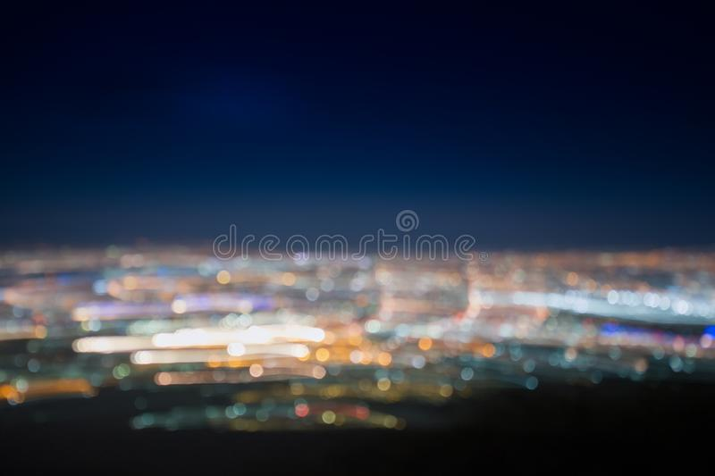 Abstract long exposure, experimental surreal photo. City and vehicle lights at night stock photography