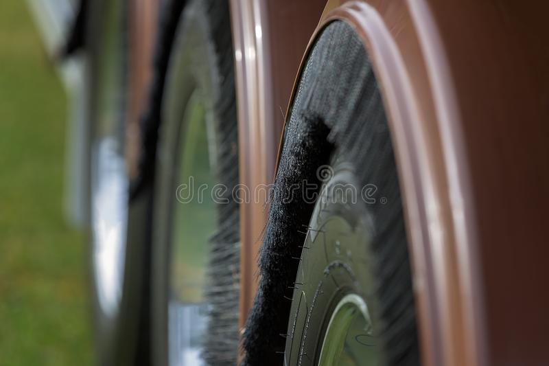 The Abstract Look Of The Wheels Of A Truck. A close up of the wheels of a truck in abstract royalty free stock photo