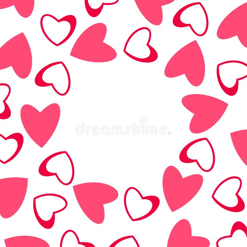 Abstract love frame from a pattern of hearts. For greeting cards, invitations Valentine`s day, wedding, birthday. vector illustration