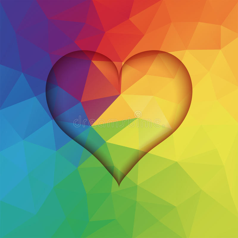 Abstract low poly background with heart shape vector illustration