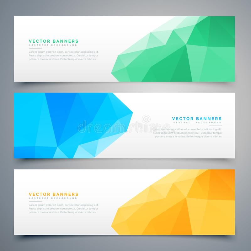 Abstract low poly colorful banners and headers set royalty free illustration