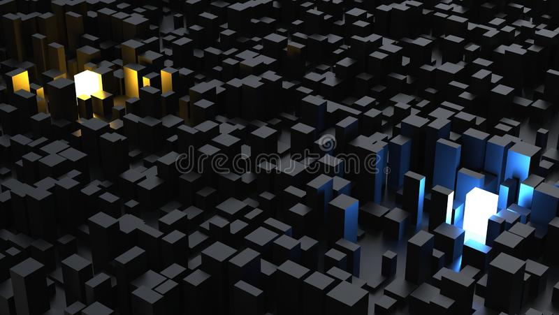 Abstract low poly dark city with orange and blue glowing buildings royalty free illustration