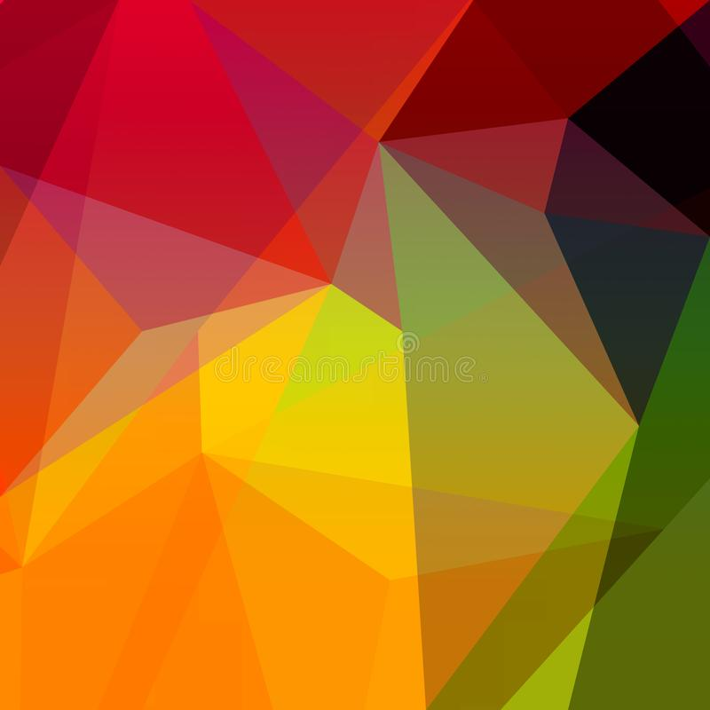 Abstract low poly design with minimal triangles and polygonal shapes in bold red yellow green orange pink and gold colors royalty free illustration