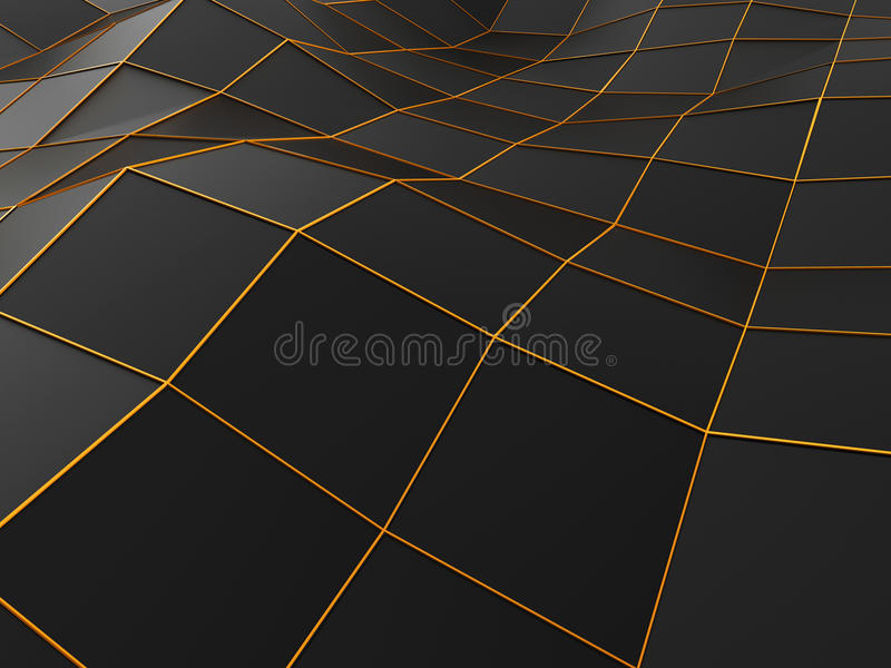 Abstract low poly environment with orange lines stock illustration