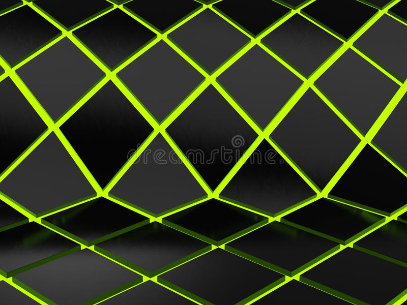 Abstract low poly glowing green grid background stock illustration