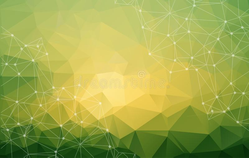 Abstract low poly green bright technology vector background. Con stock illustration