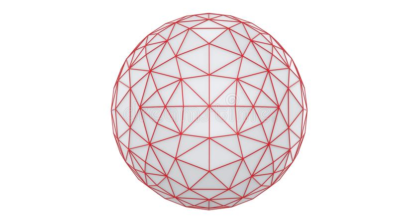 Abstract low poly sphere constructed out of triangles royalty free illustration