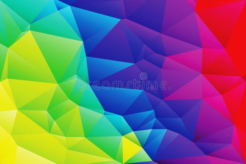 Abstract low poly vivid rainbow colors background royalty free illustration