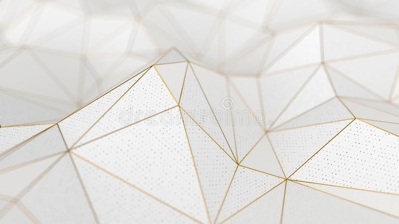 Abstract low-poly white background with golden lines royalty free stock photography