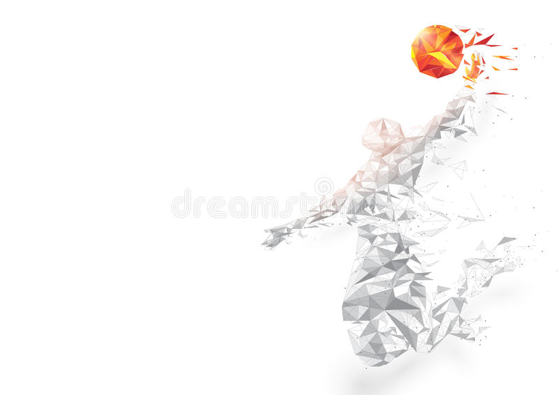 Abstract low polygon basketball player jumping dunking on white background. stock illustration