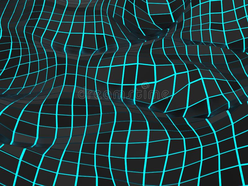 Abstract low polygon digital waves - blue glowing light vector illustration