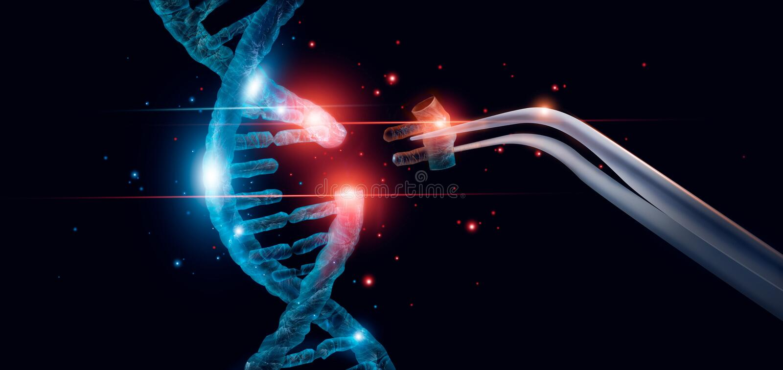 Abstract luminous DNA molecule. Genetic and gene manipulation concept. stock illustration