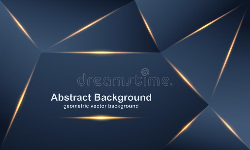 Abstract, luxurious, modern, polygonal vector backgrounds with a mixture of gold and dark colors stock illustration