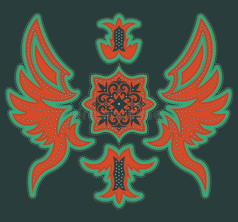 Abstract Luxurious tribal design - t-shirt graphic design with stitches and rivets. Vector illustration AVAILABLE vector illustration