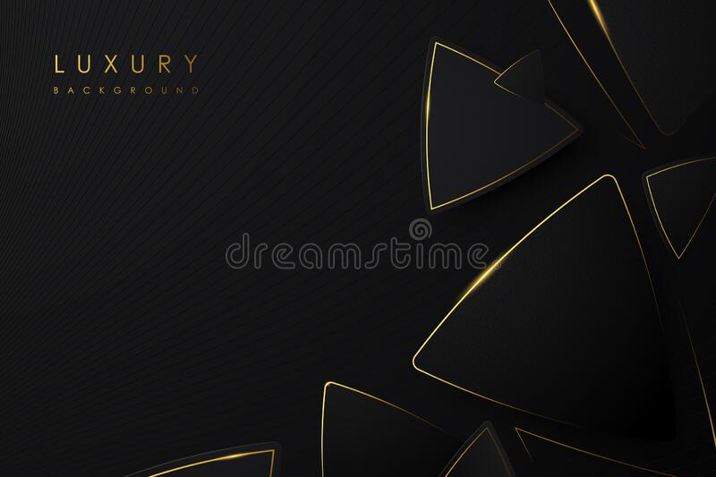 Abstract Luxury background. Black triangle and line gold color on black background. stock image