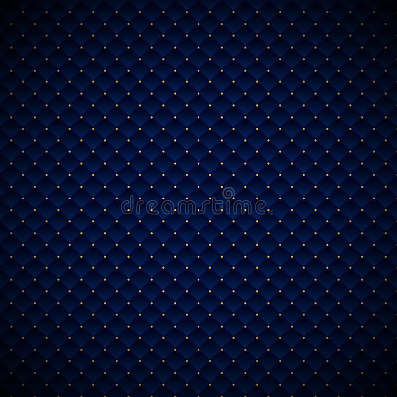 Abstract luxury blue geometric squares pattern design with golden dots on dark background stock illustration